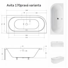 Asymetrická vaňa AVITA 170 × 75 cm