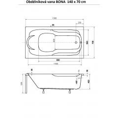 Obdélníková vana BONA 140 x 70 cm