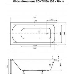 Obdĺžniková vaňa CONTINEA 150x70 cm