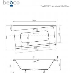 Asymetrická vaňa INFINITY 160 × 100 cm