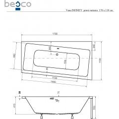 Asymetrická vaňa INFINITY 170x110 cm