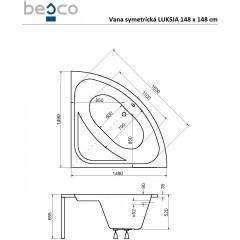 Symetrická vaňa LUKSJA 148 x 148 cm
