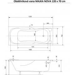 Obdĺžniková vaňa MAJKA NOVA 120x70 cm