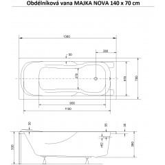 Obdĺžniková vaňa MAJKA NOVA 140x70 cm
