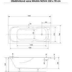 Obdĺžniková vaňa MAJKA NOVA 150x70 cm