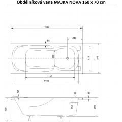 Obdĺžniková vaňa MAJKA NOVA 160x70 cm