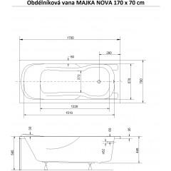 Obdĺžniková vaňa MAJKA NOVA 170x70 cm