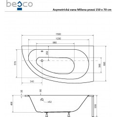 Asymetrická vaňa MILENA 150 × 70 cm