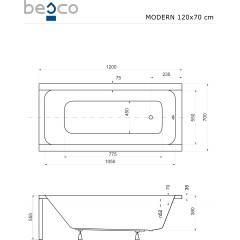 Akrylátová vaňa MODERN 120 × 70 cm