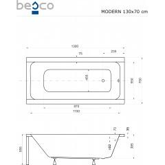 Akrylátová vaňa MODERN 130x70 cm