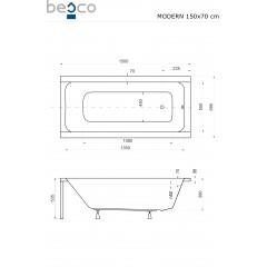 Akrylátová vaňa  MODERN 150 × 70 cm