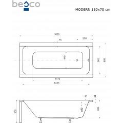 Akrylátová vaňa MODERN 160 × 70 cm
