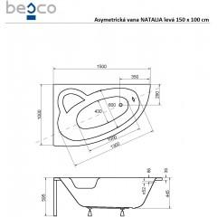 Asymetrická vaňa NATALIA 150 × 100 cm