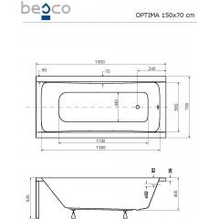 Akrylátová vaňa OPTIMA 150x70 cm