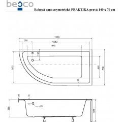 Asymetrická rohová vaňa PRAKTIKA 140x70 cm