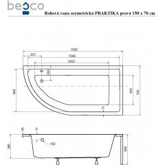 Asymetrická rohová vaňa PRAKTIKA 150x70 cm