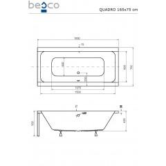 Akrylátová vaňa QUADRO 165 × 75 cm