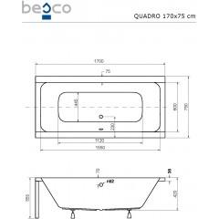Akrylátová vaňa QUADRO 170 × 75 cm