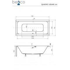 Akrylátová vaňa QUADRO 180 × 80 cm