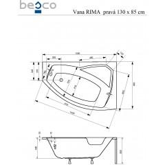 Asymetrická rohová vaňa RIMA 130 × 85 cm