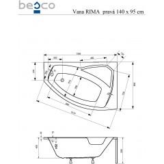Asymetrická rohová vaňa RIMA 140x90 cm