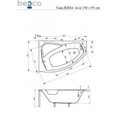 Asymetrická rohová vaňa RIMA 150x95 cm