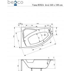 Asymetrická rohová vaňa RIMA 160x100 cm