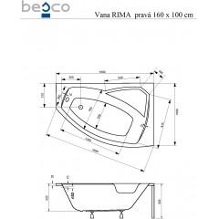 Asymetrická rohová vaňa RIMA 160 × 100 cm