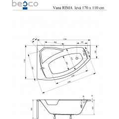 Asymetrická rohová vaňa RIMA 170 × 110 cm