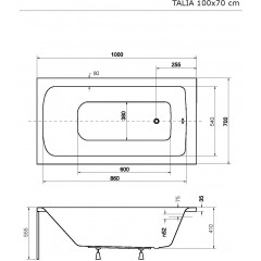 Akrylátová vaňa  TALIA 100 × 70 cm