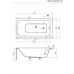 Akrylátová vaňa TALIA 110 × 70 cm
