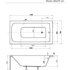 Akrylátová vaňa TALIA 140 × 70 cm