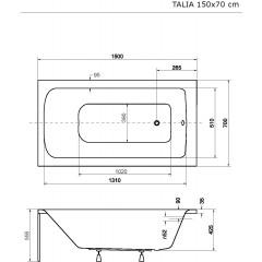 Akrylátová vaňa TALIA 150 × 70 cm
