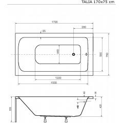 Akrylátová vaňa TALIA 170x75 cm