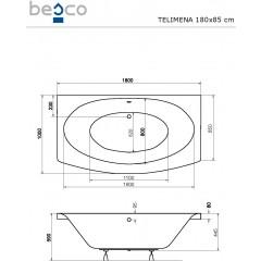 Akrylátová vaňa TELIMENA 180x85 cm
