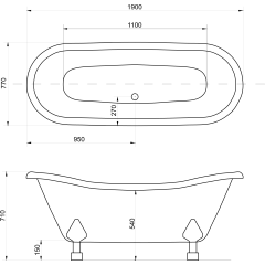 Amelia 190 × 77 cm voľne stojaca kúpacia vaňa