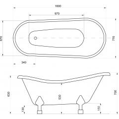 OTYLIA 160 × 77 cm voľne stojaca kúpacia vaňa