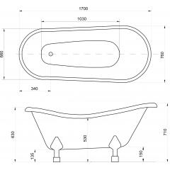 OTYLIA 170x77 cm voľne stojaca kúpacia vaňa