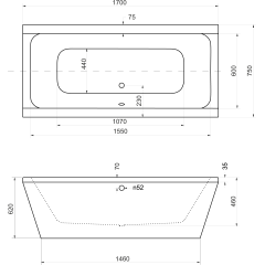 VERA 170x75 cm voľne stojaca kúpacia vaňa