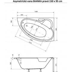 Asymetrická vaňa BIANKA 150x95 cm