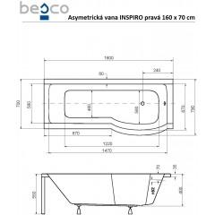 Asymetrická vaňa s jednodielnou zástenou INSPIRO 160x70 cm