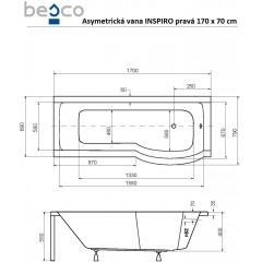 Asymetrická vaňa s jednodielnou zástenou INSPIRO 170x70 cm