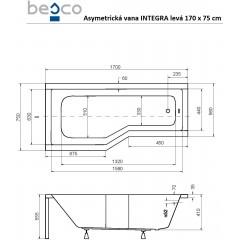 Asymetrická vaňa INTEGRA 170 × 75 cm