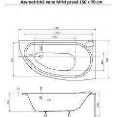 Asymetrická vaňa MINI 150 × 70 cm