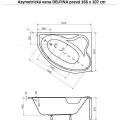 Asymetrická vaňa DELFINA 166x107 cm