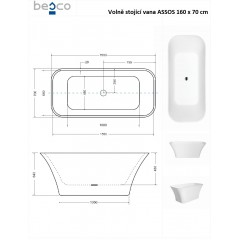 Voľne stojaca vaňa ASSOS B & W 160x 70 cm