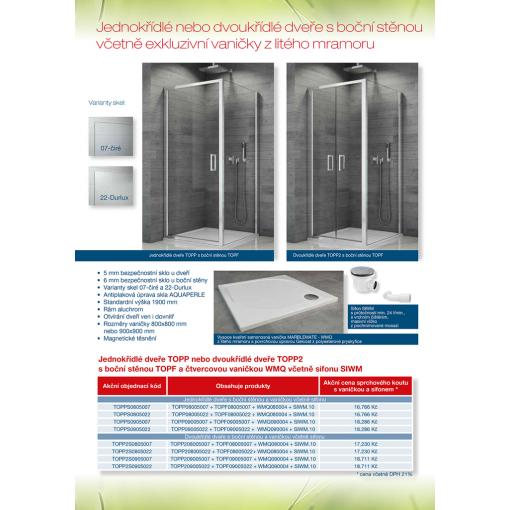 SanSwiss AKČNÍ SET TOPP S 080 50 07 Sprchové dveře+TOPF08005007 s vaničkou WMQ080004 a sifonem SIWM.10, 80×80 cm, aluchrom/sklo