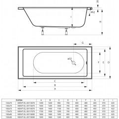 Akrylátová vaňa ELEGA 170x70cm
