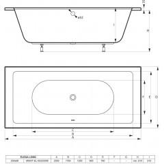 Akrylátová vaňa ELEGA LONG 200x90cm