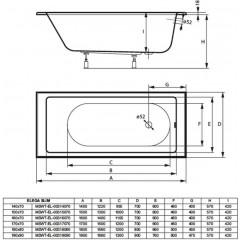 Akrylátová vaňa ELEGA SLIM 170x70cm